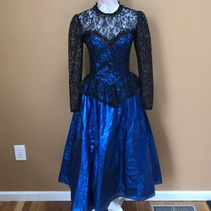 Vinatge Gunne Sax Jessica McClintock Blue Dress